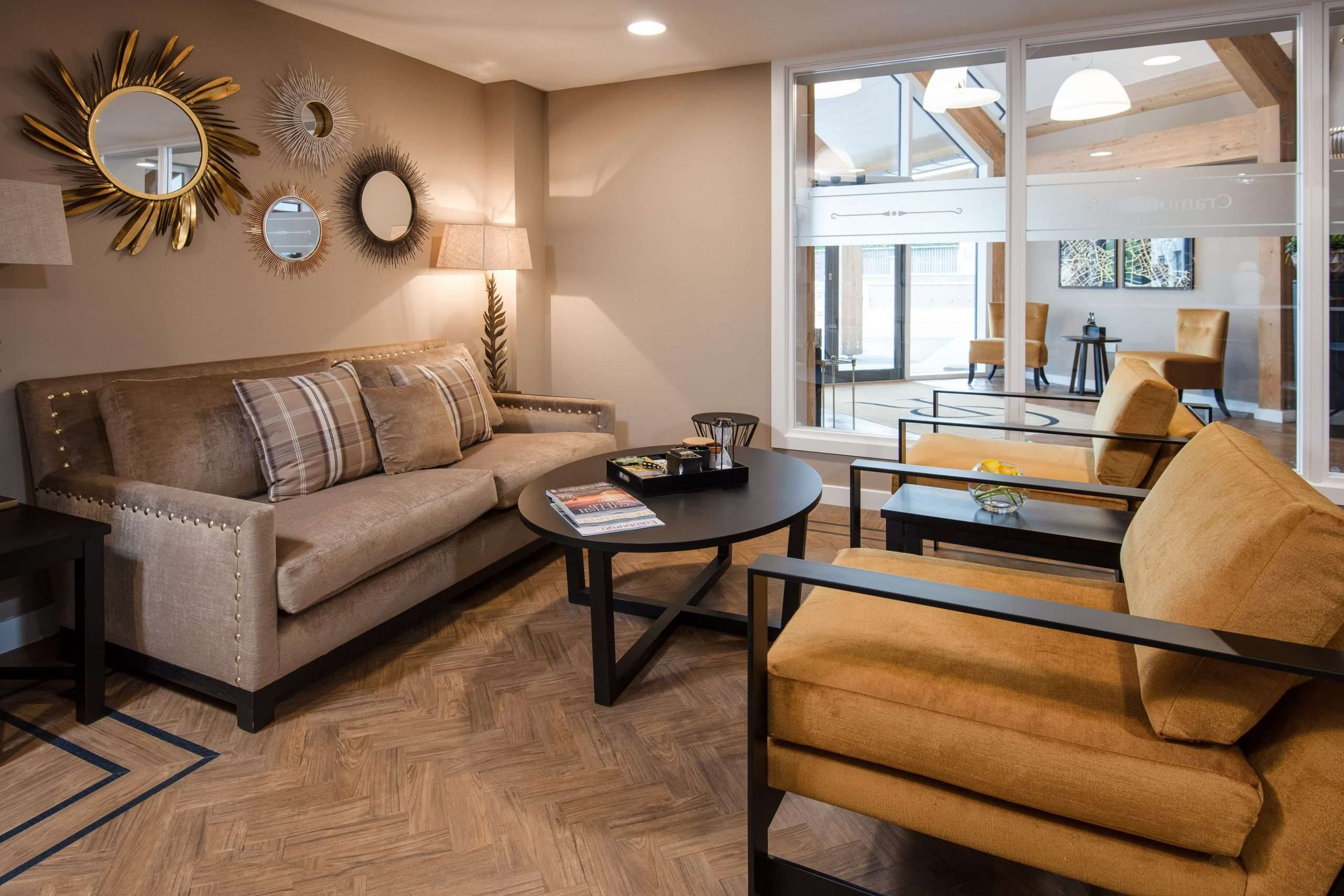 Cafe area showing comfortable seating with coffee table