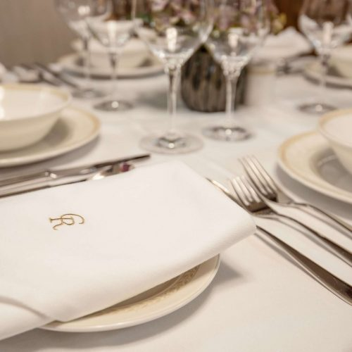 Fine dining crockery and cutlery