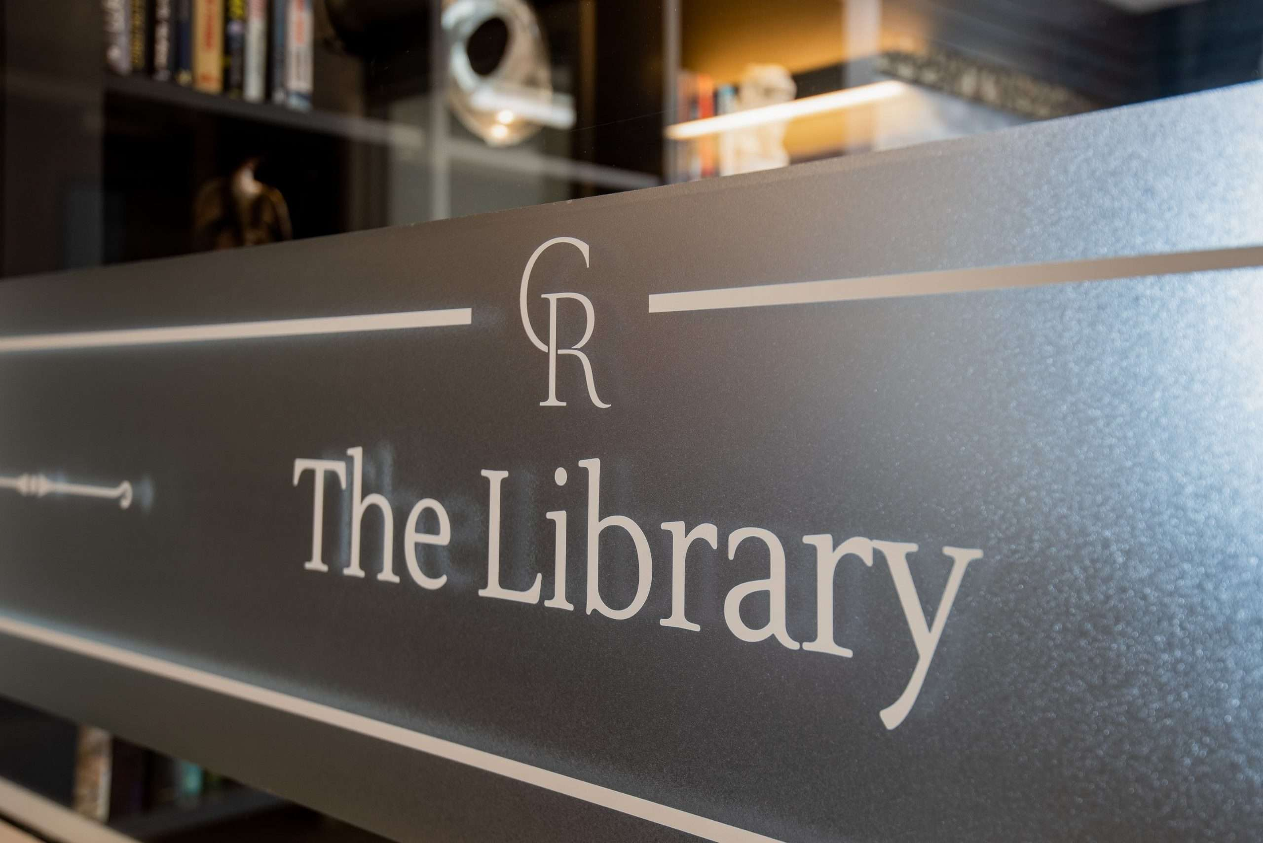 """Sign saying """"The Library"""" at care home"""