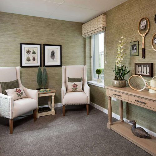 Snug seating area with Cluny interior design