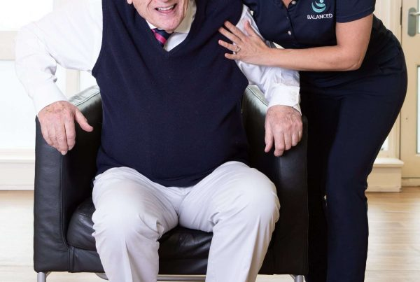 Lead physio from Balanced with resident at care home in Edinburgh