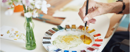 Resident painting with watercolours