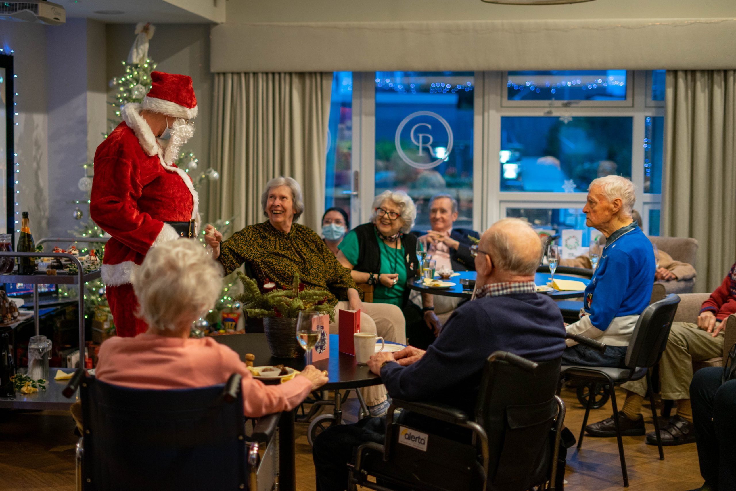 Residents with Santa